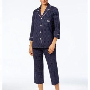Ralph Lauren navy polka dot pajama set monogram